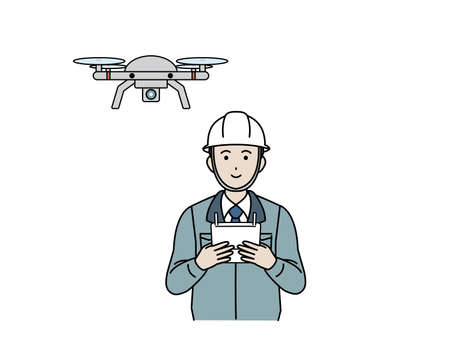 It is an illustration of a Site foreman drone operation. Imagens - 168469195