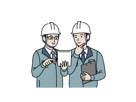 It is an illustration of a Site foremen meeting.