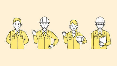 It is an illustration of a Site foremen and factory manager. Ilustración de vector