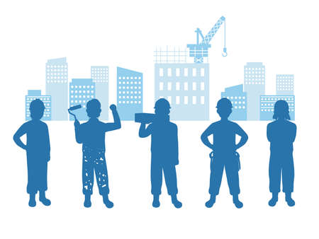 It is an illustration of a Construction workers silhouette.