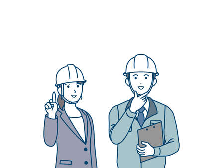 It is an illustration of a Site foreman and woman look up.