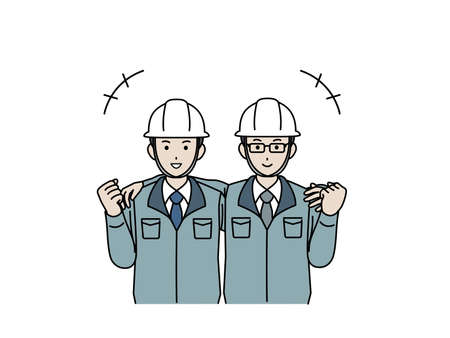 It is an illustration of a Site foremen arm around shoulder.