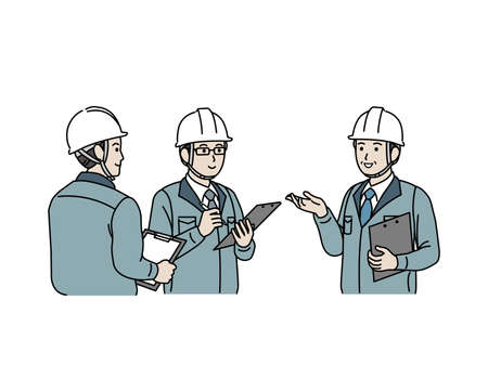 It is an illustration of a Site foremen new employee training.
