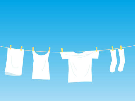 It is an illustration of a Dry the laundry illustration.