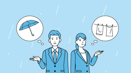 It is an illustration of a It raining and person are in trouble.