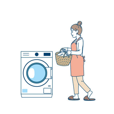 It is an illustration of a Woman using the washing machine.