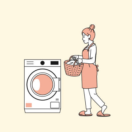 It is an illustration of a Woman using the washing machine. Ilustração Vetorial
