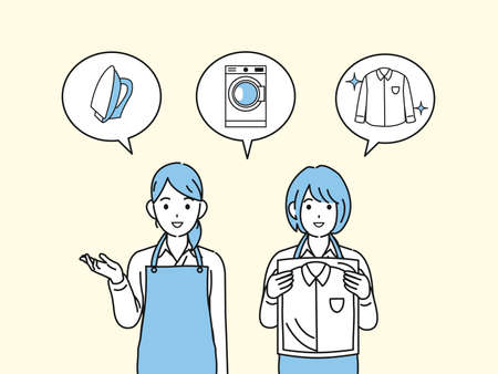 It is an illustration of a Dry cleaner laundry staff women.
