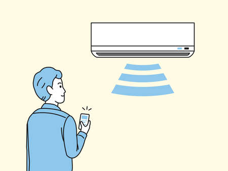 It is an illustration of a Man turning on the air conditioner.