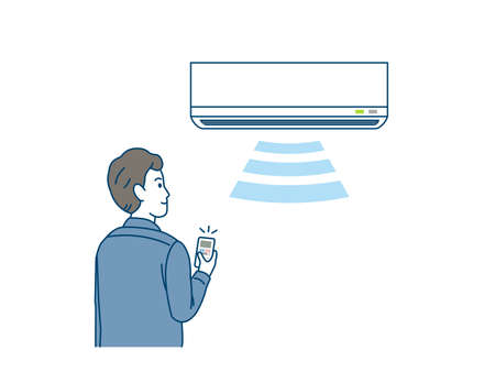 It is an illustration of a Man turning on the air conditioner. Ilustração Vetorial