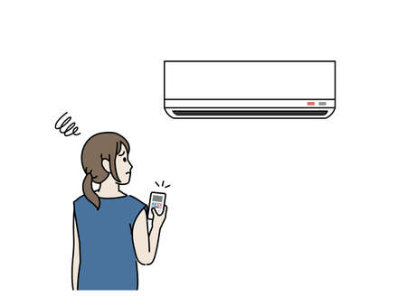 It is an illustration of a Woman turning on the air conditioner malfunction.
