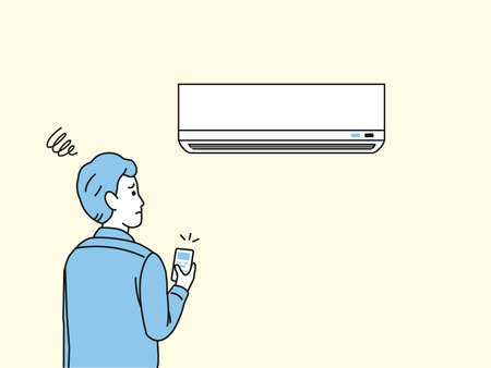 It is an illustration of a Man turning on the air conditioner malfunction.