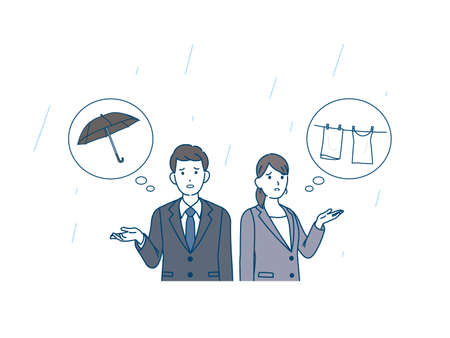 It is an illustration of a It raining and person are in trouble