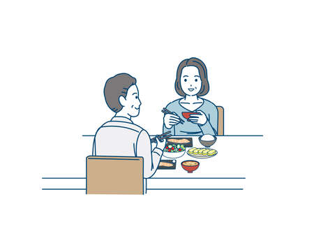 It is an illustration of a Middle aged couple having a meal.