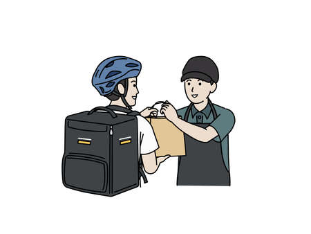 It is an illustration of a Restaurant staff and delivery staff. Vecteurs