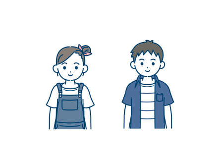 illustration of a Boy and girl kids.
