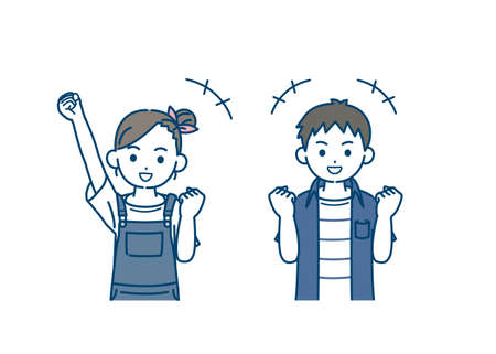 illustration of a Boy and girl kids cheerful.