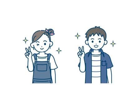 illustration of a Boy and girl kids peace sign. Ilustração