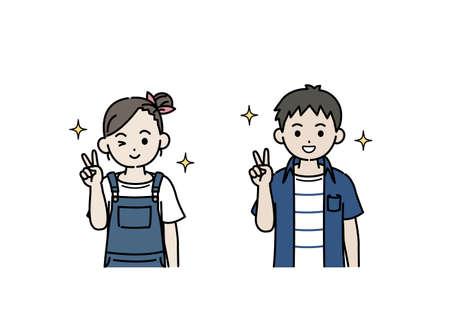 It is an illustration of a Boy and girl kids peace sign. Ilustração