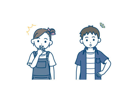 illustration of a Boy and girl kids surprise.