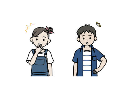 It is an illustration of a Boy and girl kids surprise.