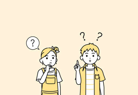 It is an illustration of a Boy and girl kids thinking. Ilustração