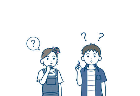 illustration of a Boy and girl kids thinking.