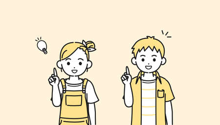 It is an illustration of a Boy and girl kids idea.
