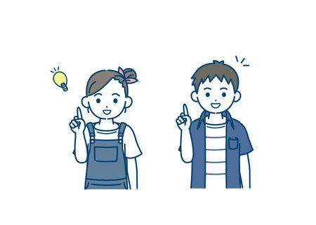 illustration of a Boy and girl kids idea. Ilustração