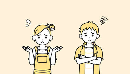 It is an illustration of a Boy and girl kids be trouble worried.