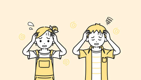 It is an illustration of a Boy and girl kid panic trouble.