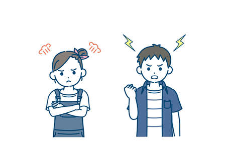 It is an illustration of a Boy and girl kid get angry.