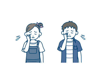 It is an illustration of a Boy and girl kid cry.