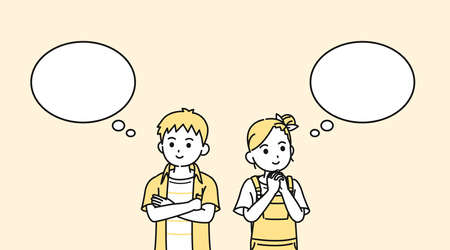It is an illustration of a Boy and girl kid remind.