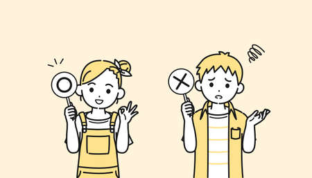 It is an illustration of a Boy and girl kid correct and incorrect answers.