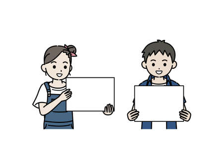 It is an illustration of a Boy and girl kid have a board.