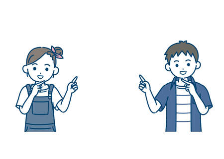 It is an illustration of a Boy and girl kid point your finger.