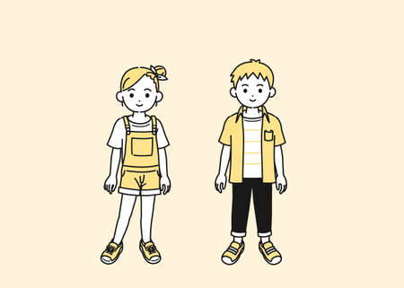 It is an illustration of a Boy and girl kids.