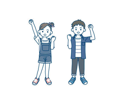 It is an illustration of a Boy and girl kids cheerful.