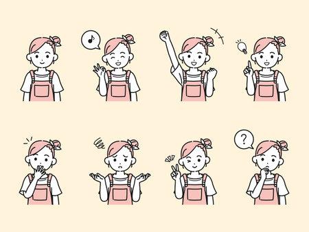 It is an illustration of a Little girl variation set.