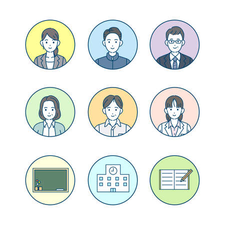 It is an illustration of a School teacher icons. Ilustração