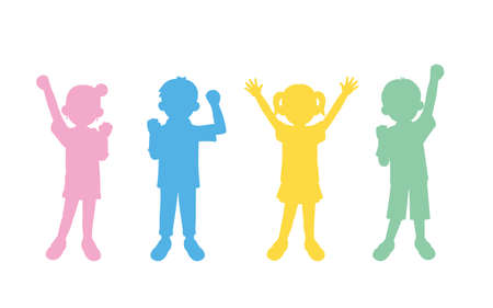 It is an illustration of a Boy and girl kids silhouette. Ilustração