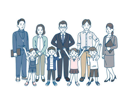 It is an illustration of a School teacher and children.