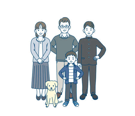 It is an illustration of a Japanese family.