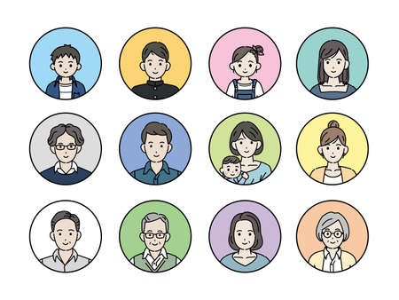 It is an illustration of a Japanese people icons.