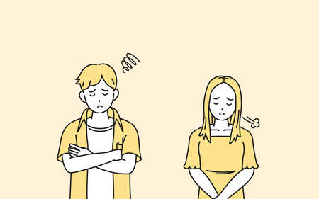 It is an illustration of a Young person be trouble worried.