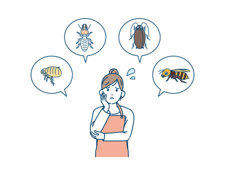 It is an illustration of a Woman in trouble with insect pests.