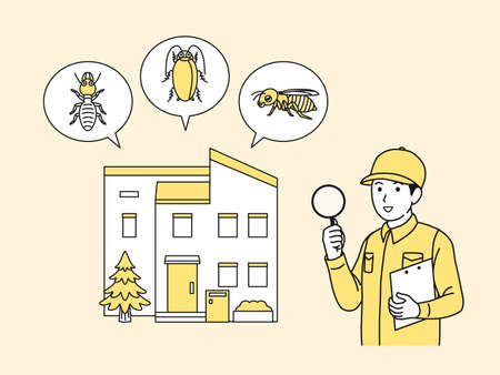 It is an illustration of a Exterminator explaining insect pests. Vector Illustration