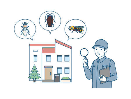 It is an illustration of a Exterminator explaining insect pests.