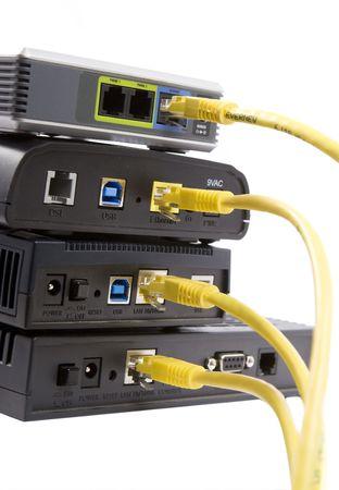 dsl: DSL modems Stock Photo
